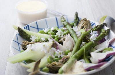 Spring vegetables with aioli