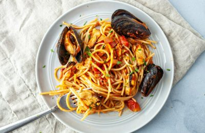 Krevetkalı spagetti